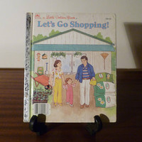 "Vintage 1988 Book ""Let's Go Shopping"" - A little Golden Book / Kids Book / Shopping With Mum and Dad"