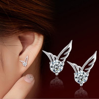 Fashion Cute 1Pair Lady 925 Silver Plated Jewelry Angel Wings Crystal Ear Stud Earrings = 1946585348