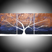 "ARTFINDER: Tree of Light triptych 3 piece original panel wall art 3 panel triptych violet purple gold metallic canvas wall life 48 x 20 "" by Stuart Wright - "" The Tree of Light ""   3 piece hand made origi..."