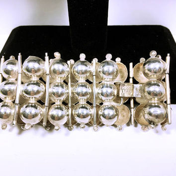 Sterling Silver Dome Bracelet - Hollow Dome - Mid Century - 1950s - Vintage Southwest -  Sterling Silver - Mexico Sterling Silver - Artisan