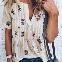Casual Daily V neck Floral Print Top - CHICNICO