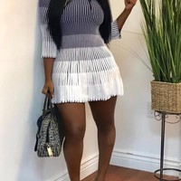New White-Black Gradient Pleated Bodycon Long Sleeve Homecoming Party Mini Dress