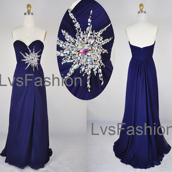 Strapless Sweetheart Floor Length Chiffon Royal Blue by LvsFashion