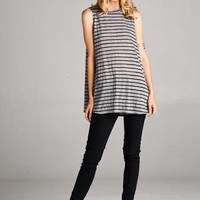 Striped loose fit sleeveless top