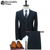Men Green Suits Wedding Groom Fashion Slim Fit Business Suit