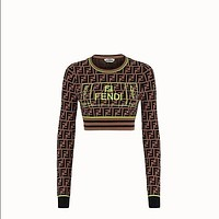 FENDI Women Fashion Long Sleeve Embroidery Top Pullover-4