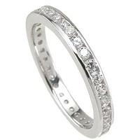 1 Ct Women's CZ Eternity Band Wedding Ring Sterling Silver