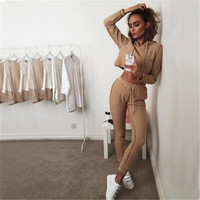 Two Piece Women Casual Hooded Solid Sweatshirt Suit and Long Pants Outfit a13057