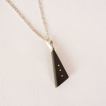 SALE - Triangle Pendant in Ebony and Sterling Silver, silver plated chain - Women or Men Necklace - Men Jewelry - Black and Silver