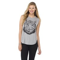 Junior's Knit to Woven Graphic Tank Gray