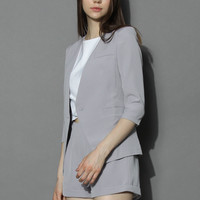 Grey Blazer and Shorts Set Grey