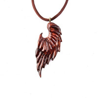 Wing Necklace, Angel Wing Necklace, Angel Wing Pendant, Wooden Angel Wing Pendant, Wood Wing Necklace, Wing Pendant, Angel Wing Jewelry