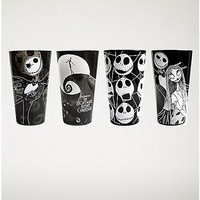 Black and White Nightmare Before Christmas Pint Glass 4 Pack - Spencer's