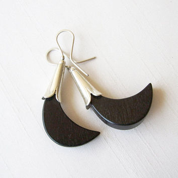 Tribal Earrings in Sterling Silver and Ebony Wood - Ebony and Sterling Silver - Petal Flower Original Shape - Contemporary Wooden Jewelry