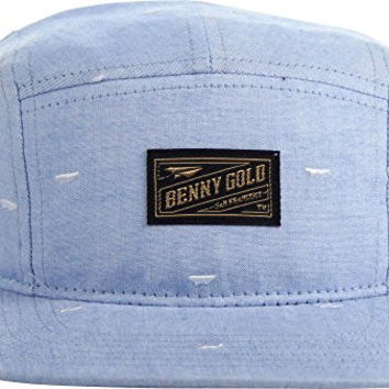 Benny Gold - Mens Paper Plane 5-Panel Hat, O/S, Sky Chambray
