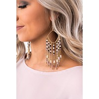 Ginny Beaded Tassel Drop Earrings (Gold)