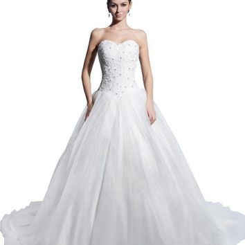 Albizia A-line Sweetheart Beads ands Chapel Wedding Dresses