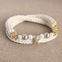 Wrap bracelet with beads and star, knit bracelet, beige bracelet, star bracelet