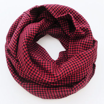 Houndstooth Red and Black Scarf- Soft Flannel Infinity Scarf
