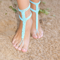 Crochet Turquoise Barefoot Sandals, Nude shoes, Foot jewelry, Wedding, Victorian Lace, Sexy, Yoga, Anklet , Bellydance, Steampunk, Beach Poo