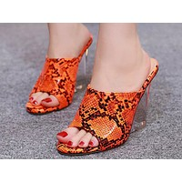 Fashion Ladies Sandals Summer New Open-toed Crystal Slope-heeled Fishmouth High-heeled Shoes 6 Colors Orange serpentine