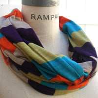 Colorful Scarf FREE SHIPPING Jersey Infinity  Color Block Jersey Infinity Scarf Multicolor Stripes Eternity Retro Scarf - By PIYOYO