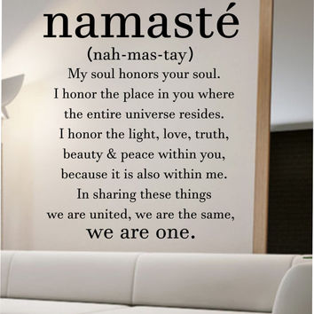 Namaste definition quote wall decal namaste vinyl sticker for Definition for mural
