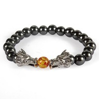 Natural Hematite Stone Beads Alloy Dragon Charms Bracelet For Women Men Double Dragon Playing A Ball Elastic Beaded Bangle 1x