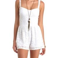 CUPPED LACE BUSTIER ROMPER