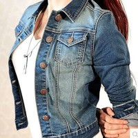 2018 Women's Coat Denim Jackets Blue Autumn Denim Jackets for Women Jeans Single Breasted Denim Coats female feminine Clothing
