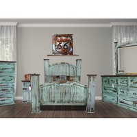 Rustic Collection: Mansion Turquoise 5 Piece Bedroom Suite