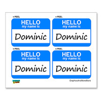 Dominic Hello My Name Is - Sheet of 4 Stickers