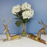 Large Vintage Deer Figurine PAIR Brass Silver Gold Metallic Shelf Decor Antlers Eclectic Decor Rustic Decor Christmas Holiday Decor