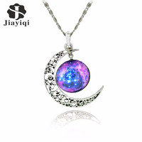 Galaxy Necklace Lovely Moon Galaxy Nebula Space Antique Silver Alloy Pendant Platinum Plated Chain Necklace Couple Gift Jewelry