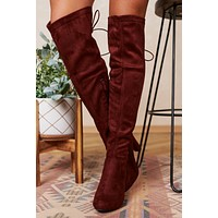 Crossing Paths Faux Suede Thigh High Boots (Wine)