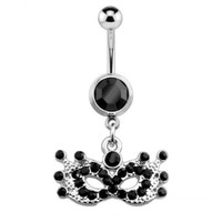 Belly Ring Party Mardi Gras Mask w/Black Gems Dangle Naval Steel Body Jewelry