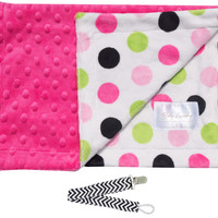 """Baby Laundry 91226 Soft Minky Pink & Lime Dot Fuchsia Cuddle 14""""x18"""" Baby Blankey with Pacifier Clip"""