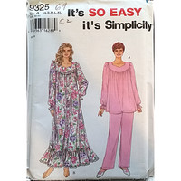 Misses Nightgown Pajamas Simplicity 9325 Sewing Pattern Size XS S M L XL c1609