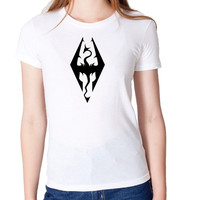 Skyrim Elder Scrolls Oblivion Logo Inspired T Shirt Gaming Xbox  Woman's High Quality T Shirt