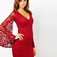 Lace Trumpet Sleeve Bodycon Dress
