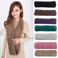 Women Girl Winter Warm Infinity Wrap 2 Circle Shawl Cable Knit Cowl Neck Long Scarf = 1958086532
