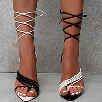 Women Sandals Ladies White Black Strappy High Heel Gladiator Sandals Pointed Toe Lace-up Sexy Female Party Shoes