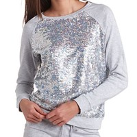 SEQUIN FRENCH TERRY PULLOVER
