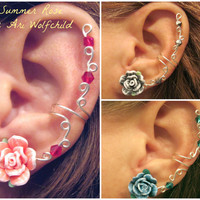 """Prom 1 Cartilage Ear Cuff """"Summer Rose"""" Color Choices Wedding Bridal No Piercing Helix Conch"""