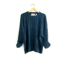 20% OFF SALE Vintage retro 80s sweater. green and blue sweater. pullover retro shirt.