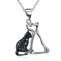 """Two-Tone 925 Sterling Silver Lovely Crystal Couple Cat Pendant Animal Charms Necklace, Rolo Chain 16""""+2"""""""