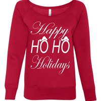 Christmas Sweater. Happy Ho Ho Holidays. Christmas Off Shoulder Sweater. Wideneck