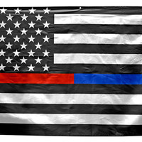 Firefighters and Police 3' x 5' Thin Red and Blue Line American Flag