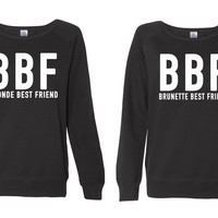 BBF-Blonde Best Friend-Brunette Best Friend-BFF- Fleece Sweatshirt-Funny-Women's