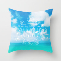 say hello to summer.  Throw Pillow by Sara Eshak